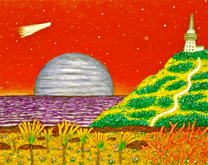 Rising of a Moon - Painting,  20x16 in ©2015 by Stephen Warde Anderson -                                                                                                Naive Art, Other, Fantasy, Landscape, Outer Space, Science-fiction, alien landscape, moon