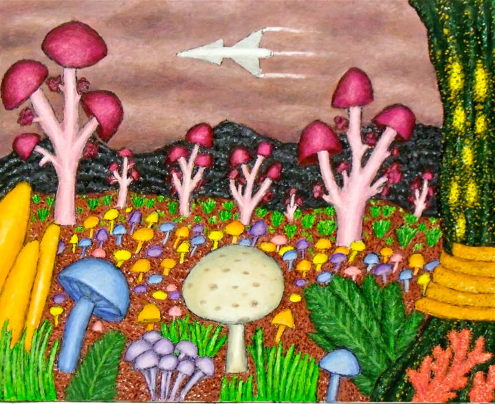 Planet of the Mushrooms - Painting,  20x16 in ©2015 by Stephen Warde Anderson -                                                                                                Naive Art, Other, Botanic, Fantasy, Outer Space, Science-fiction, mushrooms, alien landscape