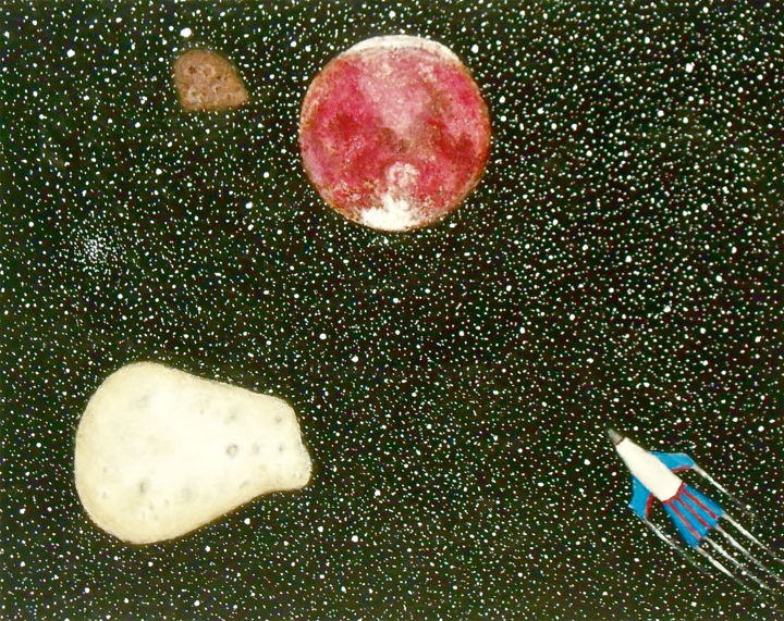 Journey to Mars - Painting,  11x14 in ©2016 by Stephen Warde Anderson -                                                            Naive Art, Other, Outer Space, Mars, spaceship, Deimos, Phobos