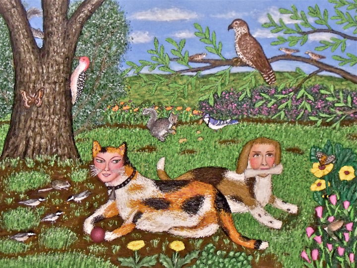 Frolica the Calico Cat w/ Brenda the Beagle - Painting,  18x24 in ©2012 by Stephen Warde Anderson -                                                                        Naive Art, Other, Animals, Fantasy, calico cat, whimsy, beagle