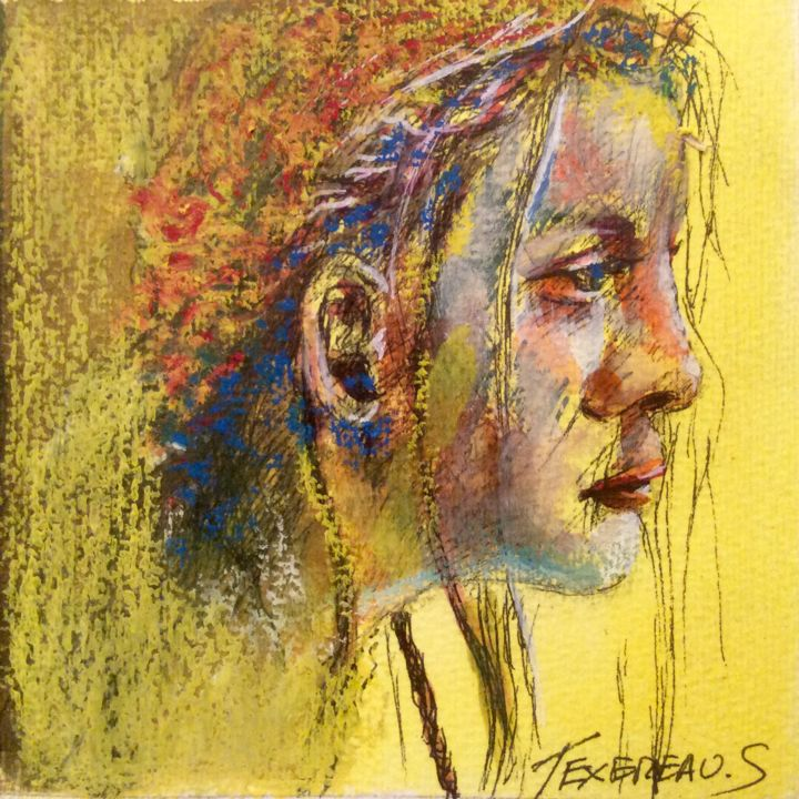Profil féminin - Painting,  13x13x0.02 cm ©2016 by Stephane Texereau -                                                                                    Expressionism, Contemporary painting, Realism, Other, Portraits, Marseille, femme, graphique, coloré, van goth