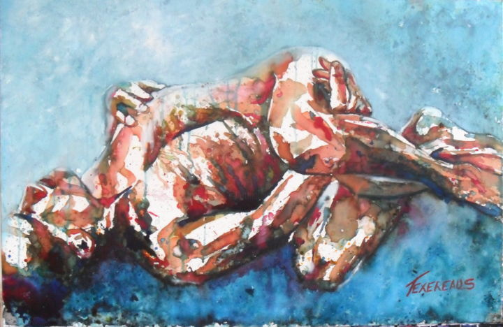 Série F 5 - Painting,  60x92x2 cm ©2012 by Stephane Texereau -                                                                        Expressionism, Realism, Canvas, Nude, man, nude, homme, corps