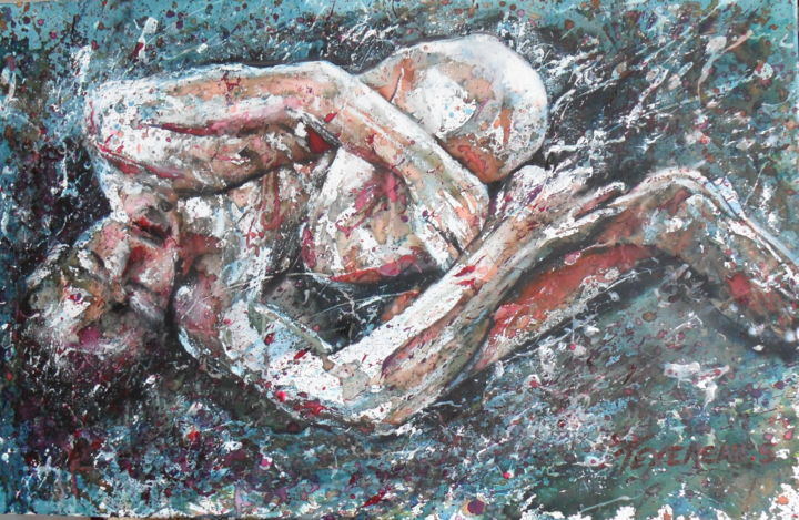 Série F2 - Painting,  60x92x2 cm ©2012 by Stephane Texereau -                                                                    Figurative Art, Expressionism, Realism, Canvas, nu, homme, nude, man, corps