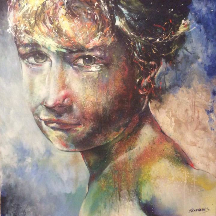 L'enfance de passage - Painting,  100x100x2 cm ©2016 by Stephane Texereau -                                                                                                Figurative Art, Expressionism, Contemporary painting, Realism, Canvas, Portraits, peinture, realisme, enfants, anges, expressionisme, couleurs