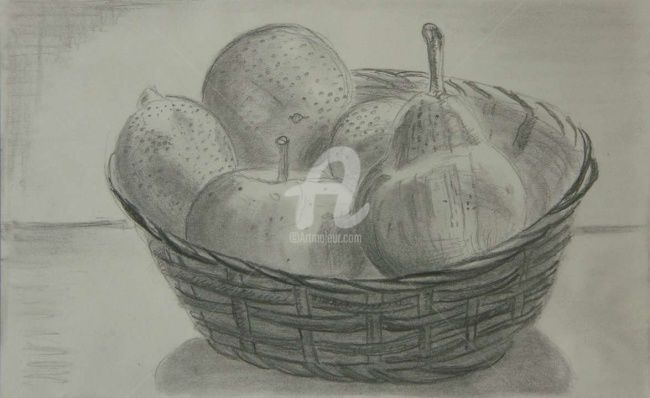 Corbeille 3 - Drawing,  8.3x11.7 in, ©2008 by Steph -