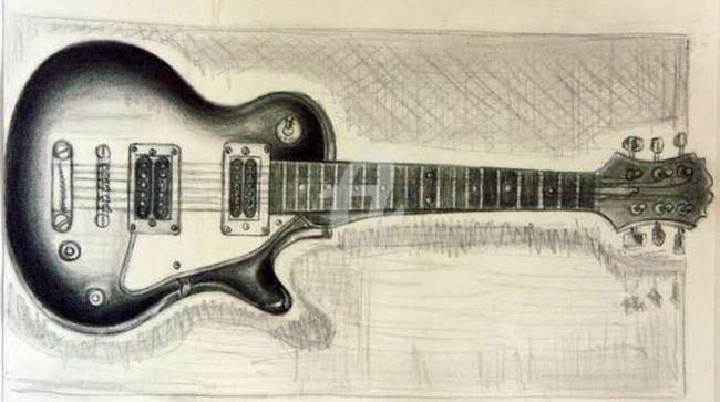 MA GUITARE - Drawing,  29.7x21 cm ©2007 by STEPH -