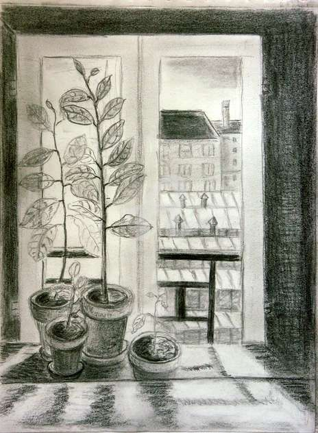 vue de ma cuisine2 - Drawing,  29.7x21 cm ©2007 by STEPH -