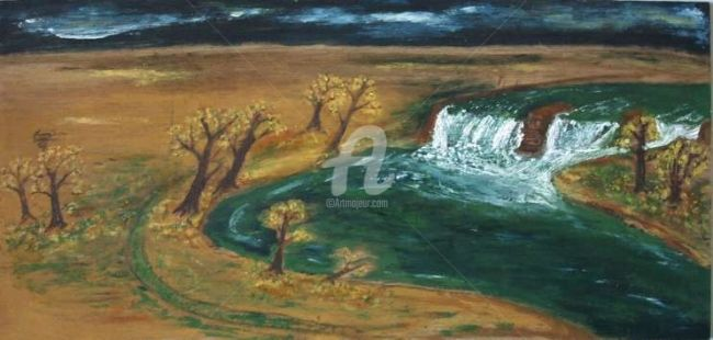 le Barrage de mes reves - Painting,  7.9x23.6 in, ©2007 by Steph -