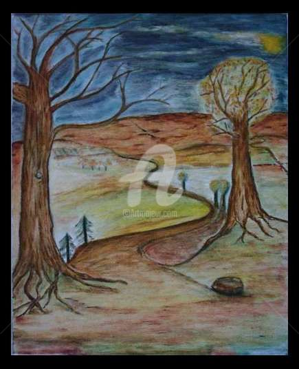 la route de vie - Painting,  41x32 cm ©2006 by STEPH -