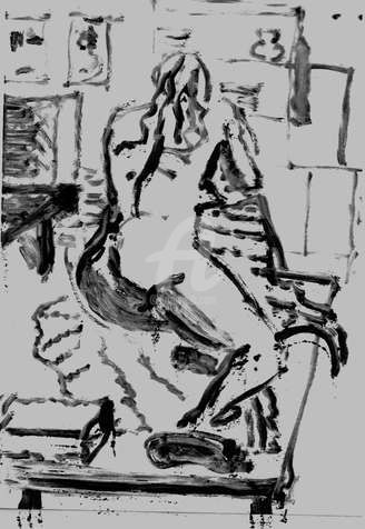monotype fem - Drawing,  11.7x8.3 in, ©2008 by Steph -