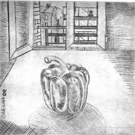 ô poivron-2 - Drawing,  29.7x21 cm ©2008 by STEPH -