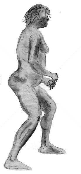 Homme de Cromagnon - Drawing,  11.7x8.3 in, ©2009 by Steph -