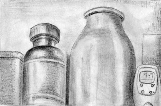Nature morte 004 - Drawing,  8.3x11.7 in, ©2008 by Steph -