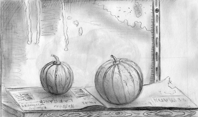melon - Drawing,  11.7x8.3 in ©2009 by STEPH -            nature morte