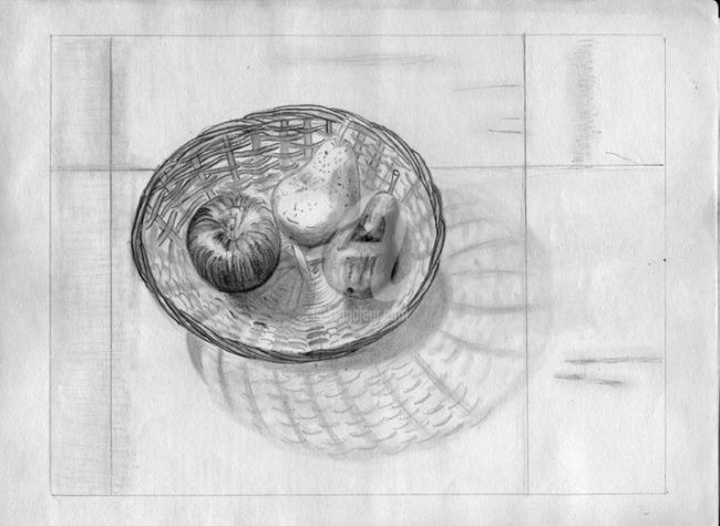 nature M 001 - Drawing,  8.3x11.7 in, ©2009 by Steph -                                                              nature morte