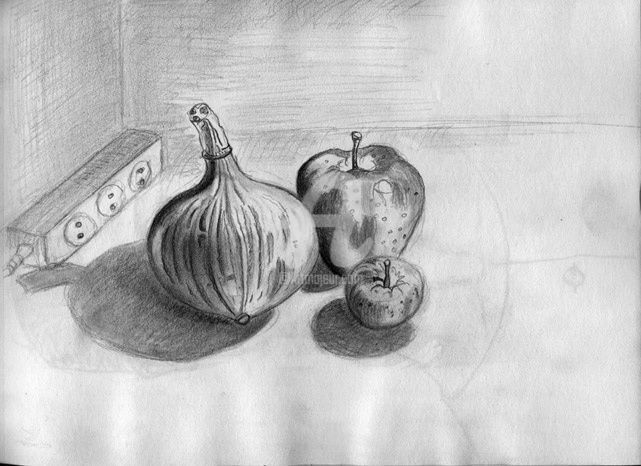 nature M 003 - Drawing,  8.3x11.7 in, ©2009 by Steph -                                                              nature morte