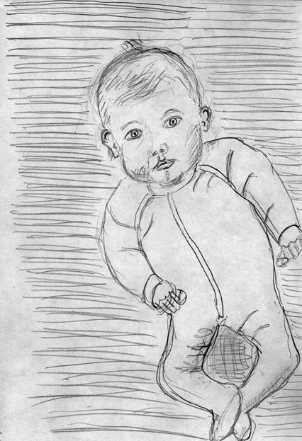 BB - Drawing,  11.7x8.3 in, ©2010 by Steph -                                                                                                              Black and White, BB