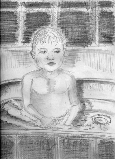 BB au bain - Drawing,  11.7x8.3 in, ©2010 by Steph -                                                                                                              Black and White, BB
