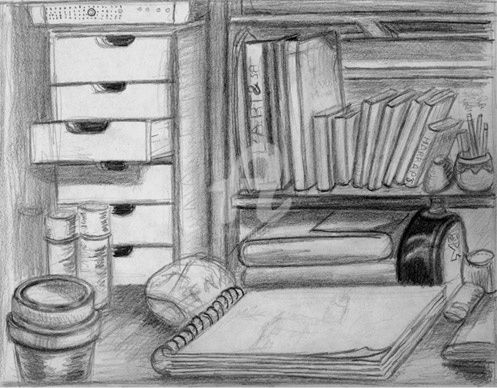 Bureau - Drawing,  8.3x11.7 in, ©2009 by Steph -                                                              Mine de plomb