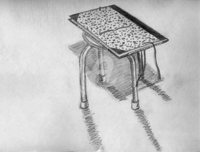 tabouret - Drawing,  11.7x8.3 in ©2008 by STEPH -            dessin Mine de plomb