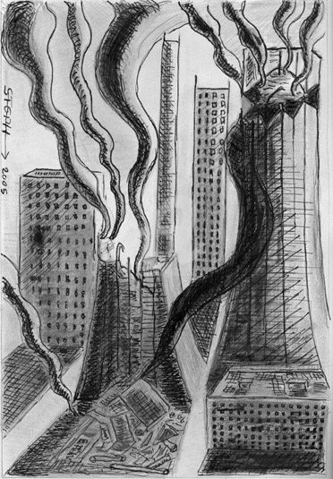 2 tours - Drawing,  16.5x11.7 in ©2005 by STEPH -            encre