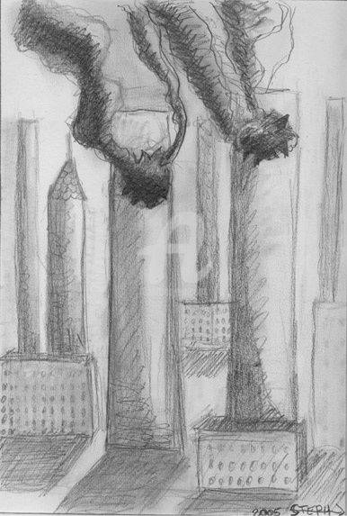 Twins Towers - Drawing,  16.5x11.7 in ©2005 by STEPH -            mine de plombencre