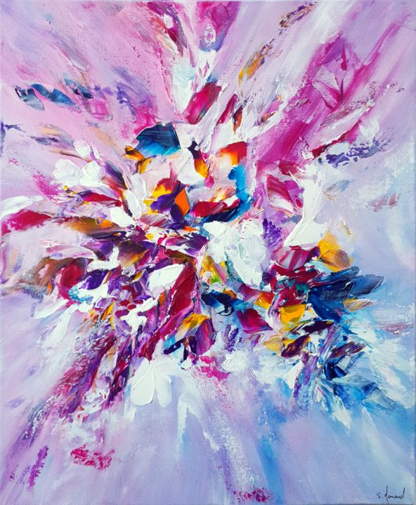 Ea - © 2019 peinture contemporaine, peinture abstraite, fleur, nature, floral, rose, violet, blanc, bleu, jaune, acrylique, art contemporain, art abstait, flowers, pink, white, blue, yellow, purple, Ae, Menard Online Artworks