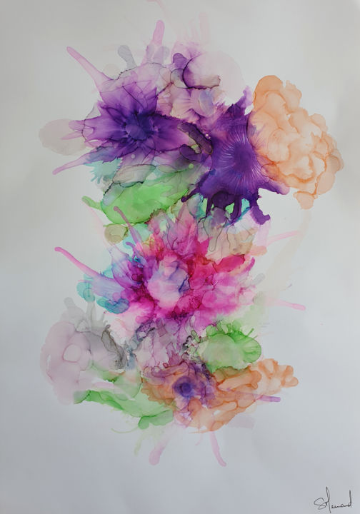 Encre N°8 - © 2019 Encre, papier, fleur, fleurs, floral, vegetal, nature, ink, paper, flower, abstract, menard, pink, purple, green, blue, orange, gray, doré, gold Online Artworks