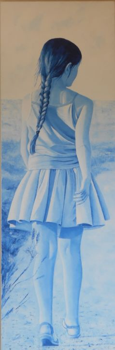 nonchalance - Painting,  59.1x19.7 in, ©2017 by Stephanie Ledroit -                                                                                                                          Figurative, figurative-594