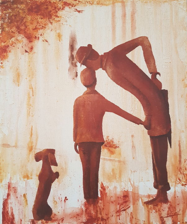 Mon oncle - Painting,  55x46 cm ©2018 by Stephanie Ledroit -                        Figurative Art