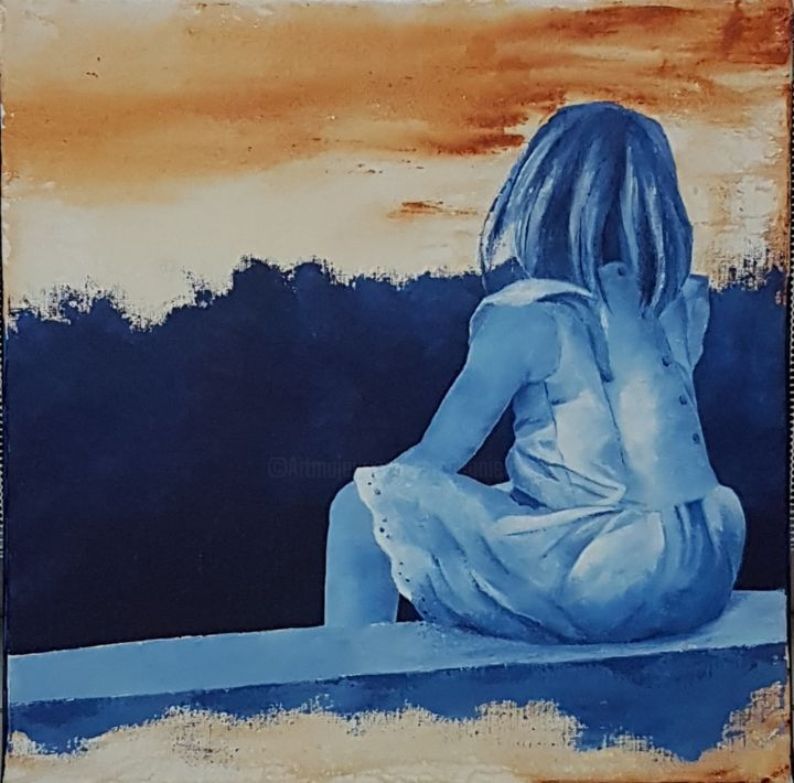 20190309-175121.jpg - Painting,  50x50 cm ©2019 by Stephanie Ledroit -                                        Figurative Art, Kids