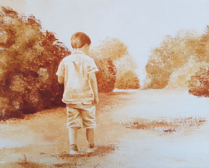 Promenade 2 - Painting,  33x41 cm ©2019 by Stephanie Ledroit -                                        Figurative Art, Kids