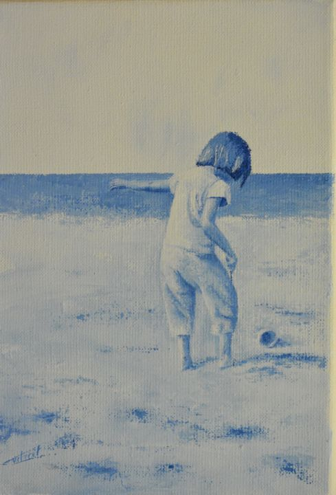 La Plage - Painting,  27x19 cm ©2017 by Stephanie Ledroit -                        Figurative Art