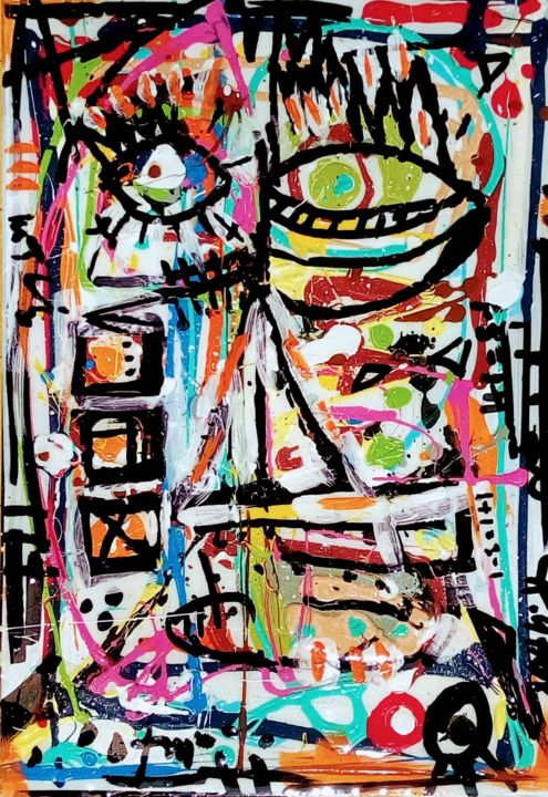 """Painting titled """"Bas les masques 3"""" by St.Ghor, Original Art, Acrylic"""