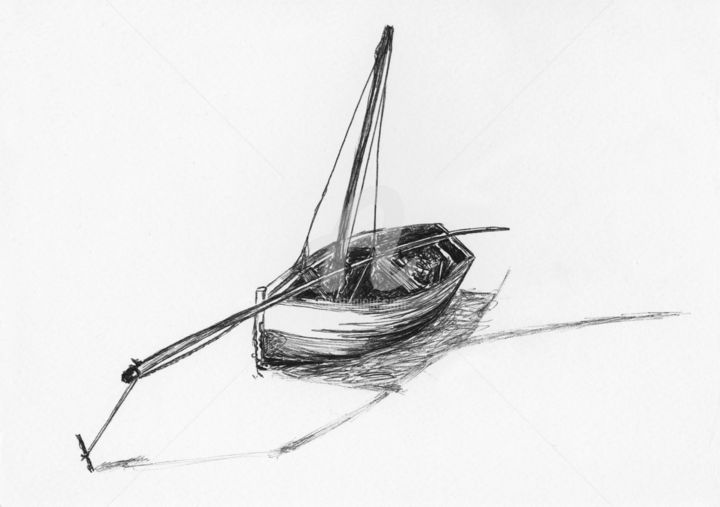 Sail Boat - Drawing,  5.8x8.3 in, ©2015 by Stephany -                                                                                                                                                                                                                                                                                                                                                                                                                                                                                                                                                                      Sailboat, Sailboat, boat, pensketch, pen, ink, black and white, Malawi, Sailing, fishing, fishing boat, sail