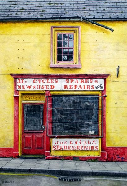 """Painting titled """"Cycle Shop, Ballyca…"""" by Stephen Shaw, Original Art, Oil"""