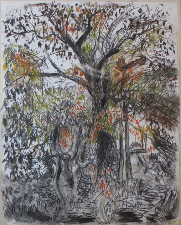 Ash and Kite - Drawing,  154x122x40 cm ©2014 by Stephen West -                                                                                                                        Figurative Art, Canvas, Paper, Animals, Birds, Landscape, Nature, Rural life, tree, kite, bird, flight, charcoal, crayon, drawing