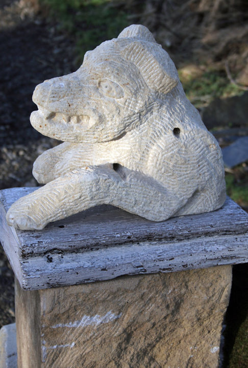 """Sculpture titled """"Tannery Dog I"""" by Stephen West, Original Art, Stone"""