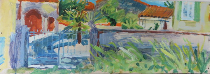 Village square over the garden wall - Painting,  11x23.6x2 in, ©2017 by Stephen West -                                                                                                                                                                                                                                                                                              Garden, Landscape, paint, garden, france, fluid