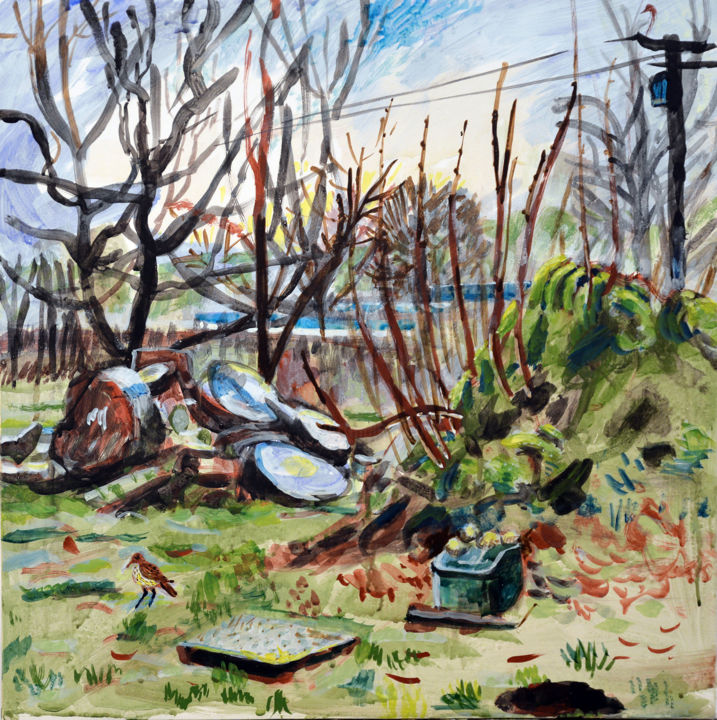 Felled Sycamore Dolpebyll - Painting,  46x46x1 cm ©2018 by Stephen West -                                                                                                Contemporary painting, Other, Birds, Colors, Landscape, Rural life, tempera, landscape, wales, bird, thrush, tree