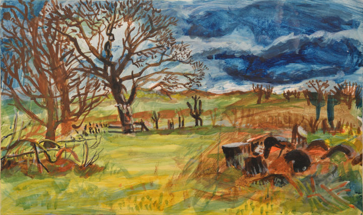 Sycamores and Felled Tree - Painting,  46x80x1 cm ©2017 by Stephen West -                                                                                    Contemporary painting, Other, Garden, Landscape, Rural life, landscape, wales, sycamore, tree, tempera, painting
