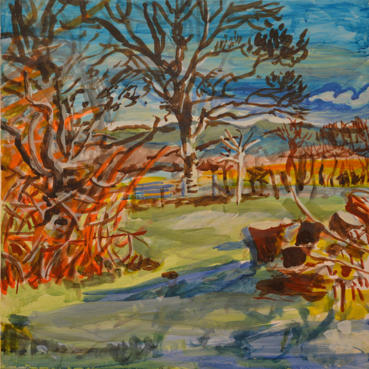 Sycamore Cherry and Woodpile - Painting,  46x46x1 cm ©2017 by Stephen West -                                                                                    Contemporary painting, Other, Garden, Landscape, Rural life, landscape, tempera, wales, tree