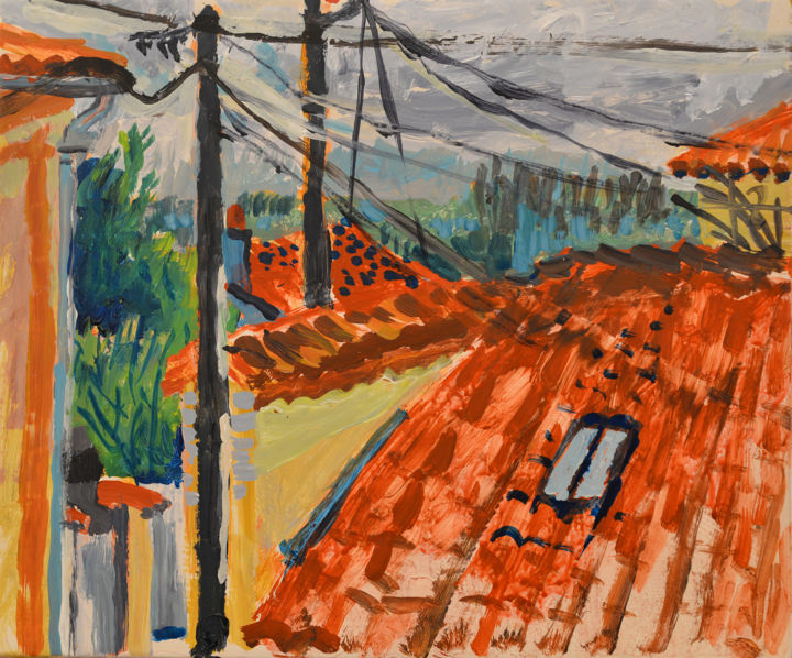 Distant Trees over Roofs Villeneuve - Painting,  25x30x1.5 cm ©2016 by Stephen West -                                                                                                        Contemporary painting, Wood, Architecture, Garden, Landscape, Places, Rural life