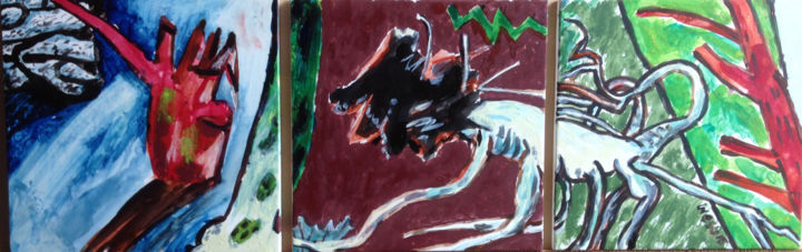 Fallen Beech Triptych - Painting,  37x89x2 cm ©2012 by Stephen West -                                                                                                            Contemporary painting, Wood, Architecture, Home, Landscape, Rural life, Tree, tempera, wales, painting, landscape, storm, colour, color