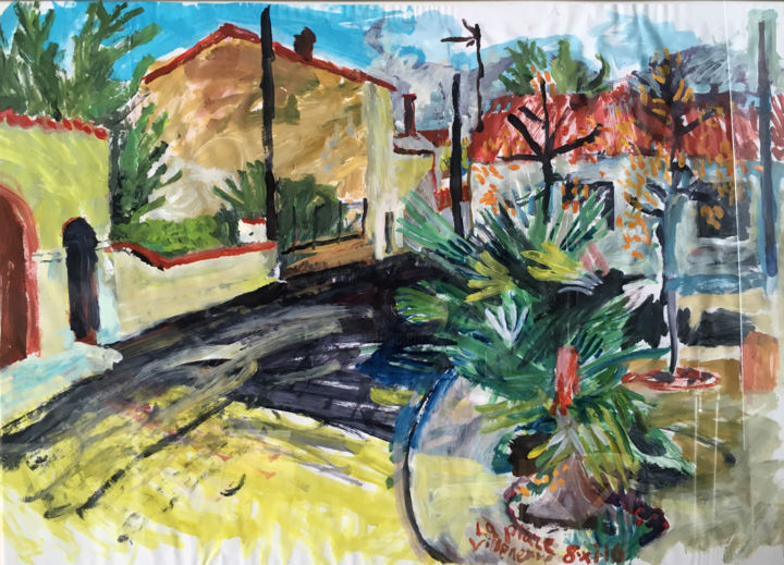 La Place Villeneuve - Painting,  68x92x1.5 cm ©2016 by Stephen West -                                                                                                                                    Contemporary painting, Paper, Architecture, Botanic, Cityscape, Garden, Landscape, Places, Rural life, France, sunlight, palm, tree, gouache, colour, painting