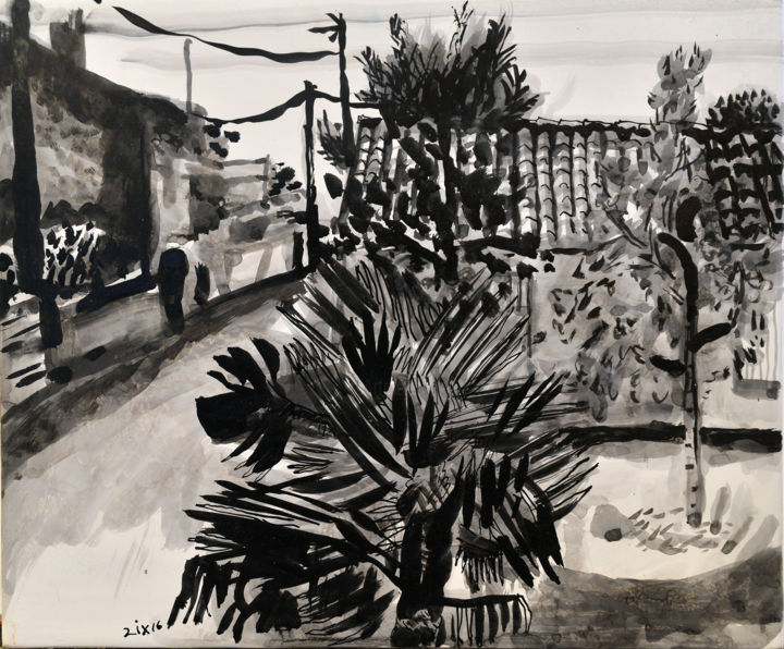 Square with Palm and Limes - Drawing,  26x30x1.5 cm ©2016 by Stephen West -                                                                                                                                                Modernism, Wood, Architecture, Black and White, Botanic, Garden, Landscape, Nature, Rural life, Tree, cour, palm, tree, france, village, architecture