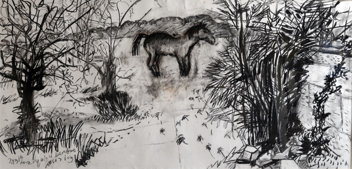 Jacques' Horse and Bamboos - Drawing,  140x80x5 cm ©2016 by Stephen West -                                                                                                                                                            Modernism, Paper, Animals, Black and White, Botanic, Garden, Horses, Landscape, Nature, Rural life, Tree, horse, france, garden, charcoal, black & white
