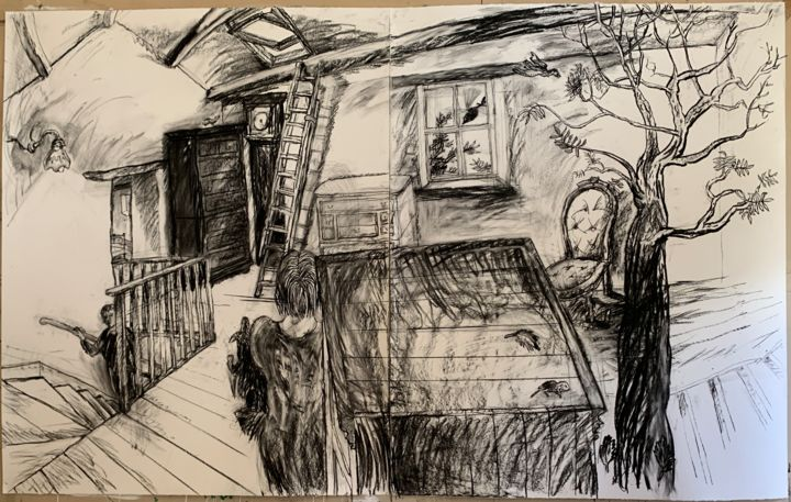 """Drawing titled """"Bird Cupboard Tree"""" by Stephen West, Original Art, Charcoal"""
