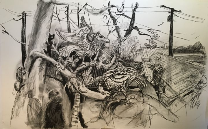 """Drawing titled """"Alfred Wallace Natu…"""" by Stephen West, Original Art, Charcoal"""