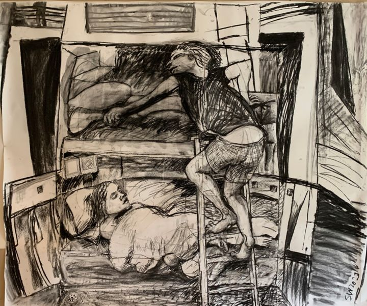 """Drawing titled """"Cross-Channel Ferry…"""" by Stephen West, Original Art, Charcoal"""